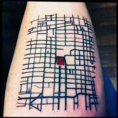 idea for NYC tattoo?] My first Tattoo, it´s a Mexico´s city downtown representation (I am an architect from Mexico). Richard at Ganeshstudio did it. I love the final result! Map Tattoos, Cool Tattoos, Tatoos, Downtown Mexico City, Karten Tattoos, City Grid, Valentines Sweets, Kids Valentines, City Tattoo