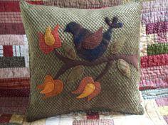 Autumn Folk Art Bird on Olive Green Chenille by rustiquecat, $34.00