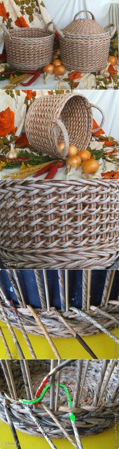 Cestas con tubos de papel de periódico   -   Master class from pretty baskets newspaper tubes