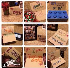 Themed 2 year gifts for Christmas. Personalized M&M's for 730 sweet days with you. 104 favorite memories for 104 special weeks together. 24 pictures that snapshot 24 months together. 2 shoes for two years running strong. And a clock, to mark the good times to come. Just some of the gifts I got My boyfriend for Christmas ♥️