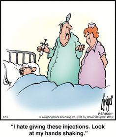Today on Herman - Comics by Jim Unger Pharmacy Humor, Medical Humor, Nurse Humor, Funny Cartoon Pictures, Cartoon Jokes, Funny Cartoons, Herman Cartoon, Herman Comic, Doctor Jokes