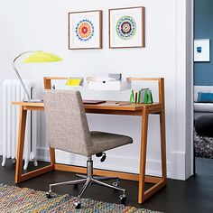 I love how light this office is with splashes of color