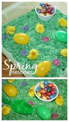 Easter Sensory Bin Spring Sensory Play for preschool. Easy Easter or Spring activity for kids. Spring Activities for Kids Sensory Boxes, Sensory Table, Sensory Play, Sensory Diet, Spring Activities, Toddler Activities, Learning Activities, Toddler Snacks, Sensory Activities