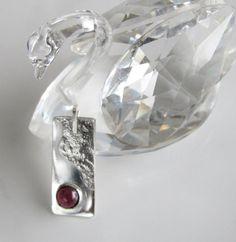 Garnet on Sterling Pendant by DixSterling on Etsy
