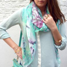 Fashion - Peacock Modal Scarf with Gold and Pastel Jewellery