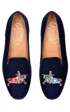 Stubbs & Wootton Joust Loafer In Navy by Stubbs & Wootton for Preorder on Moda Operandi