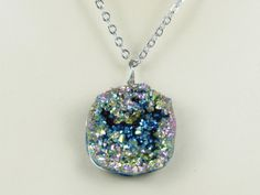 """Druzy Necklace Druzy Jewelry Druzy Pendant by AdornmentsbyDebbie, $38.00 Use coupon code """"welcome"""" to receive 10% off your purchase."""