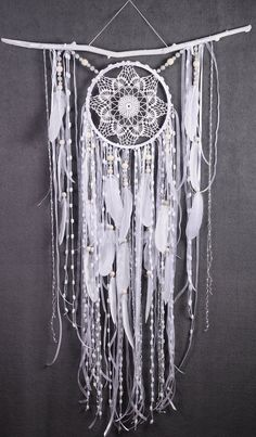 White Dreamcatcher Boho Dream Catcher Large white crochet dreamcatcher gift wedding ceremony photo backdrop Dreamcatcher Bohemian handmade This amulet like Dreamcatcher - is not just a decoration of the interior. It is a powerful amulet, which is endowed Dream Catcher White, Dream Catcher Boho, Dreams Catcher, Large Dream Catcher, Dream Catcher Craft, Dream Catcher Wedding, Dream Catcher Bedroom, Dreamcatcher Crochet, White Dreamcatcher