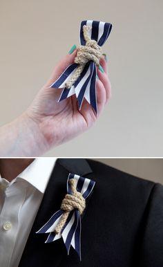 Nautical non-floral boutonniere - looks easy to diy Nautical Wedding Theme, Nautical Party, Nautical Rope, Seaside Wedding, Diy Wedding, Wedding Events, Dream Wedding, Weddings, Wedding Ideas