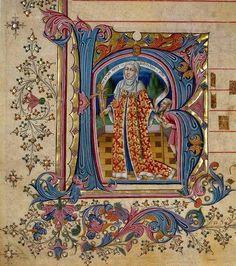 Master of The Cypresses - Spanish manuscript illuminator active early 15th c. (possibly Pedro da Toledo) - Page from a gradual, Caritas.