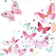6 Cocktail 25x25cm Paper Napkins for Decoupage Party Decopatch Craft Butterfly