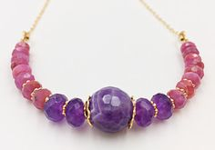 Ruby Amethyst Gold Filled Chain Stones Necklace Ruby by MorMalas