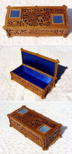 Peacocks box, scroll saw fretwork pattern