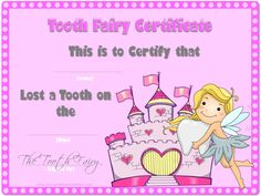 Tooth Fairy Certificate Template Free - Best Templates Ideas For You Free Certificate Templates, Templates Printable Free, Letter Templates, Free Printables, Printable Certificates, Printable Letters, Tooth Fairy Note, Tooth Fairy Receipt, Tooth Fairy Pillow