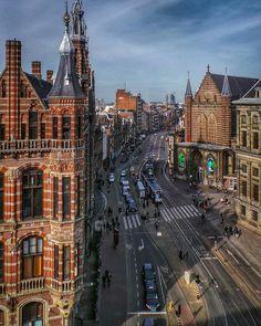 Aerial view of Nieuwezijds Voorburgwal in Amsterdam. | by Robert Diel