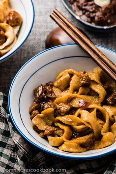 Zha Jiang Mian (炸酱面) - the pork and onion is cooked in a mouthwatering sweet savory sauce, a classic noodle dish of Beijing| omnivorescookbook.com