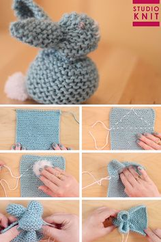 Knit up a square in the Garter Stitch to easily create the stuffed softie animal shape of a Bunny. These little cuties are quick knit favorites for beginning knitters. crochet crafts Knit a Bunny from a Square Crochet Pattern Free, Softie Pattern, Easy Knitting Patterns, Knitting Stitches, Tutorial Crochet, Easy Knitting Ideas, Rag Doll Tutorial, Fabric Doll Pattern, Knitted Doll Patterns