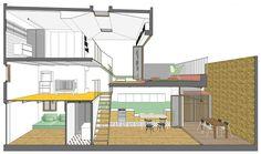 Este lindo sobrado, projetado pelo escritório Nook Architects, possui ambientes abertos, permitindo que diversos espaços interajam visualmente, mas com uma