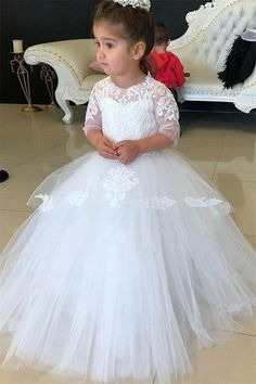 Pretty White Half Sleeves Lace Tulle Ball Gown Flower Girl Dresses Z1490  Lace Ball Gowns 5445a2662ae4