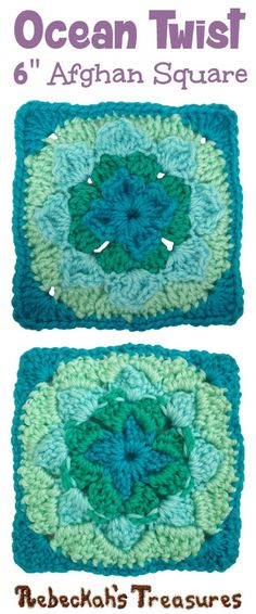 Ocean Twist Afghan Square | FREE crochet pattern via @beckastreasures | Add this beautifully textured square to your favourite home decor projects!