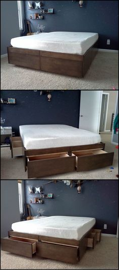 How To Build A Bed With Drawers  http://theownerbuildernetwork.co/8lwz  Do you need more storage in your bedroom, but lack the floor space for cabinets? The space under the bed is great for extra storage, but the dust bunnies can get annoying. This system will give you heaps of organised storage without the dust.