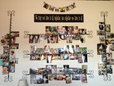 My grand kids picture wall. Metal card holders from Pier 1 make it easy to keep pictures current. Love it!