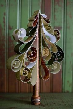 curled paper tree #christmas