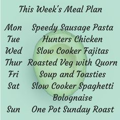 This week's meal plan - the one with all the shortcuts. Batch Cooking, Just Cooking, My Recipes, Delicious Recipes, Slow Cooker Fajitas, Hunters Chicken, Slow Cooker Spaghetti, School Essay