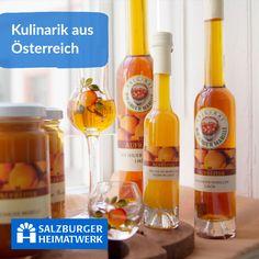 Salzburger Heimatwerk - Kulinarische Spezialitäten aus Österreich, hier bekommst Du noch ausgewählte regionale Leckerbissen von kleinen Genussmanufakturen! Wine, Drinks, Bottle, Food, Plum, Schnapps, Drinking, Beverages, Flask