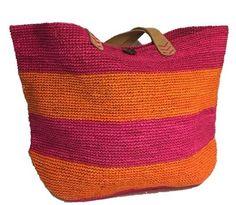 Bigoa Pink/Orange Crochet Straw Beach Bag By Le Voyage en Panier