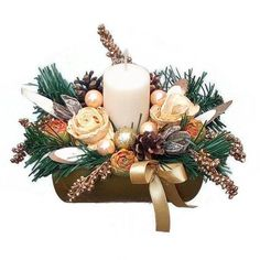 Karácsonyi asztaldísz grapefruit rózsával