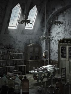 Interior render of a concept art from bloodborne. Human sculpt by Alec Hunstad and Candle Sculpts by Manan Bachkaniwala