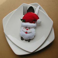Portacubiertos Navide¿os - Bordados Oma Noel Gifts, Panna Cotta, Diy And Crafts, Decorative Plates, Napkins, Christmas Decorations, Baby Shower, Ethnic Recipes, Desserts