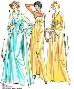 1970s Kwik Sew 721 Long Womens Nightgown Long Ruffled Lace Robe Peignoir Set Vintage Sewing Pattern Bust 32 1/2 - 43 Uncut