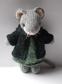 Knitted Woodland Mouse Toy in Autumn Dress and by WestcoastAttic