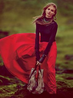 flowy red skirt, billowing in the wind <3