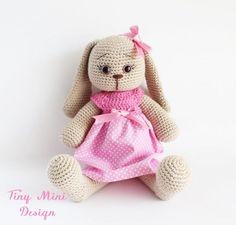 * Amigurumi Pink Polka-dot Dress Amigurumi Bunny Rabbit Yapılışı- Free Pattern | Tiny Mini Design