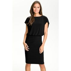Adrianna Papell Pleated Jersey Blouson Dress, Size 8 ($92) ❤ liked on Polyvore featuring dresses, draped jersey dress, sleeve dress, adrianna papell cocktail dresses, keyhole dress and draped cocktail dress