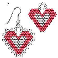 Beaded heart PATTERN earrings