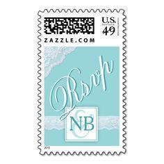 Mint green wedding RSVP postage stamps
