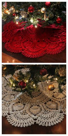 Christmas Tree Skirts Patterns, Christmas Skirt, Crochet Christmas Trees, Christmas Crochet Patterns, Holiday Crochet, Noel Christmas, Christmas Projects, Christmas Tree Decorations, Diy Christmas Tree Skirt