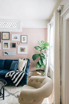 The living room color schemes to give the impression of more colorful living. Find pretty living room color scheme ideas that speak your personality. Blush Pink Living Room, Pink Room, Living Room Colors, New Living Room, My New Room, Living Room Designs, Living Room Decor, Pink Living Rooms, Small Living