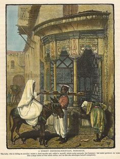 Syria, Damascus, a Street Drinking Fountain, Middle East, antique prints Drinking Fountain, Antique Prints, Damascus, Hand Coloring, Syria, Old Houses, Black And White, Street, Antiques