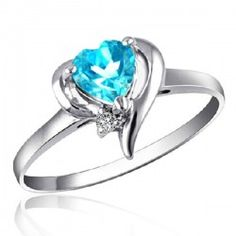 Blue Heart Topaz 925 Sterling Silver Ring from evermarker