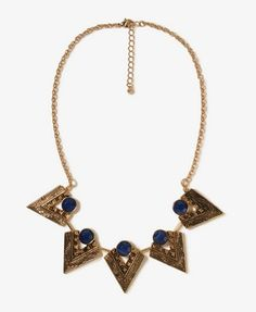 Pointed Tribal Bib Necklace | FOREVER 21 - 1000046946
