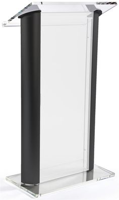 Acrylic Podium with Aluminum Sides, Frosted Front Panel - Black