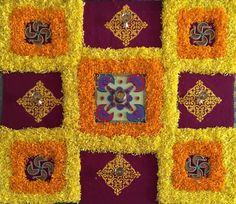 Happy Diwali  Rangoli Designs Flower, Colorful Rangoli Designs, Rangoli Ideas, Rangoli Designs Diwali, Diwali Rangoli, Flower Rangoli, Beautiful Rangoli Designs, Flower Designs, Diwali Decorations