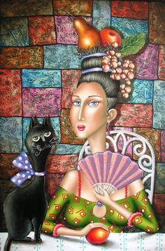 Naif painter Zurab Martiashvili 'My Mona Lisa' Crazy Cat Lady, Crazy Cats, Jig Saw, Art Fantaisiste, Afrique Art, Unique Paintings, Naive Art, Whimsical Art, I Love Cats