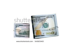 US Dollars Banknotes with paper clip, money concept isolated image