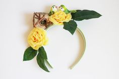 nature inspired love birds headband  // yellow wedding headpiece, quirky hair accessory, flower crown, scenery headband, bridal, spring.. $69.00, via Etsy.